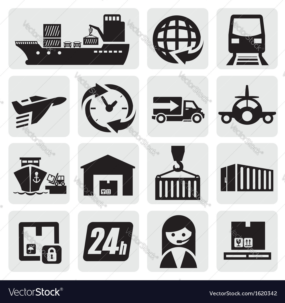 Shipping and cargo icons vector