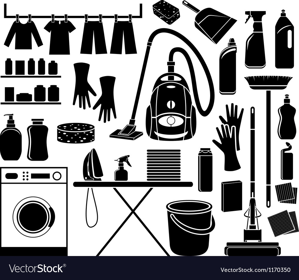 Set of icon cleaning vector