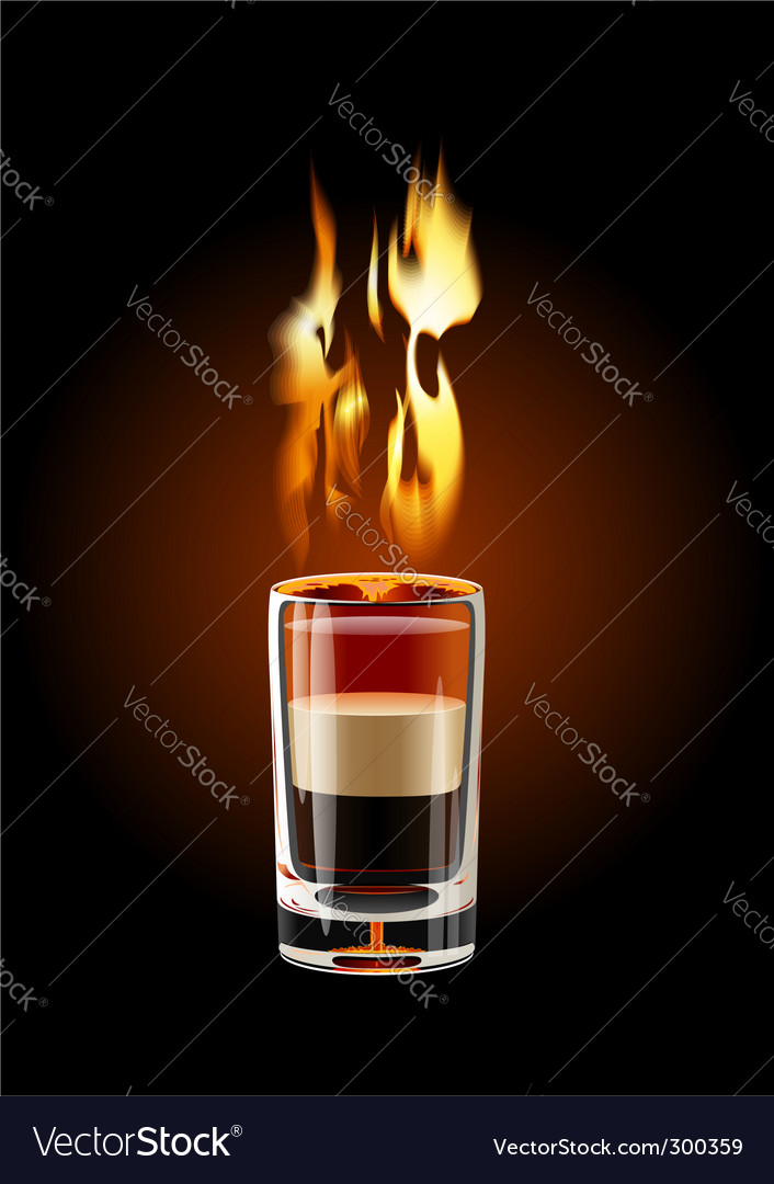 Flaming shot cocktail vector