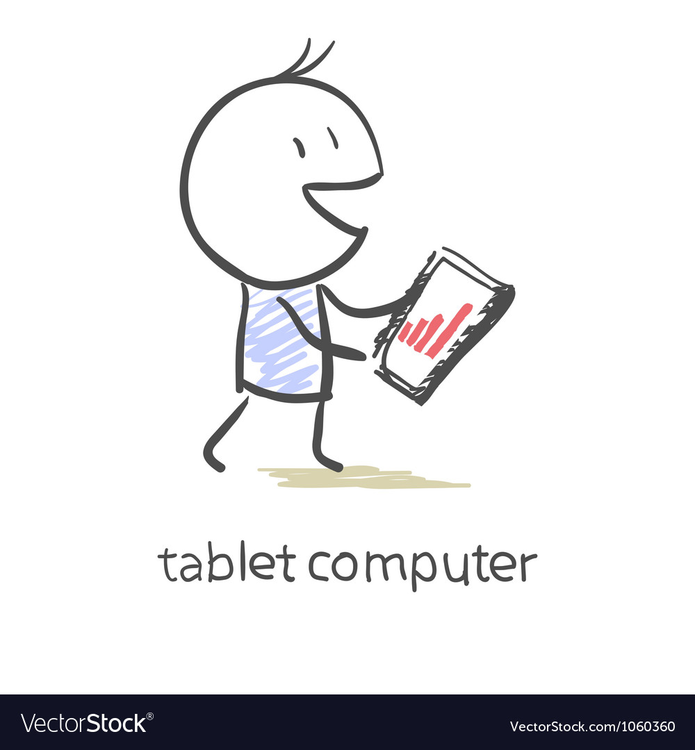 Tablet screen with graph vector
