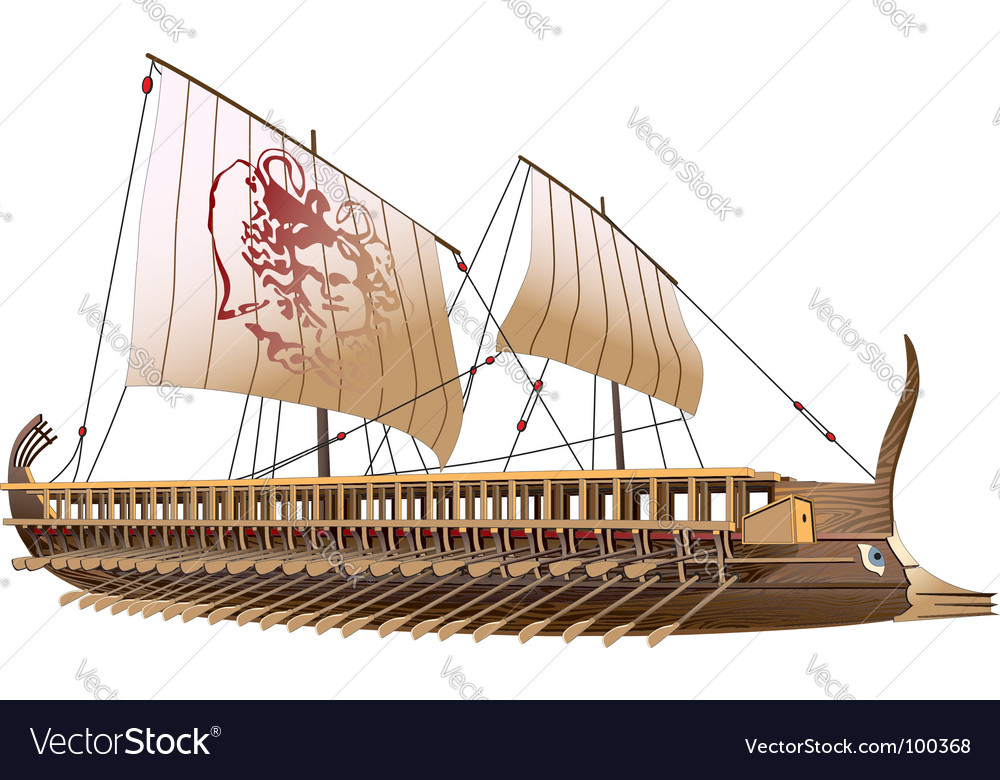 Greece bireme vector