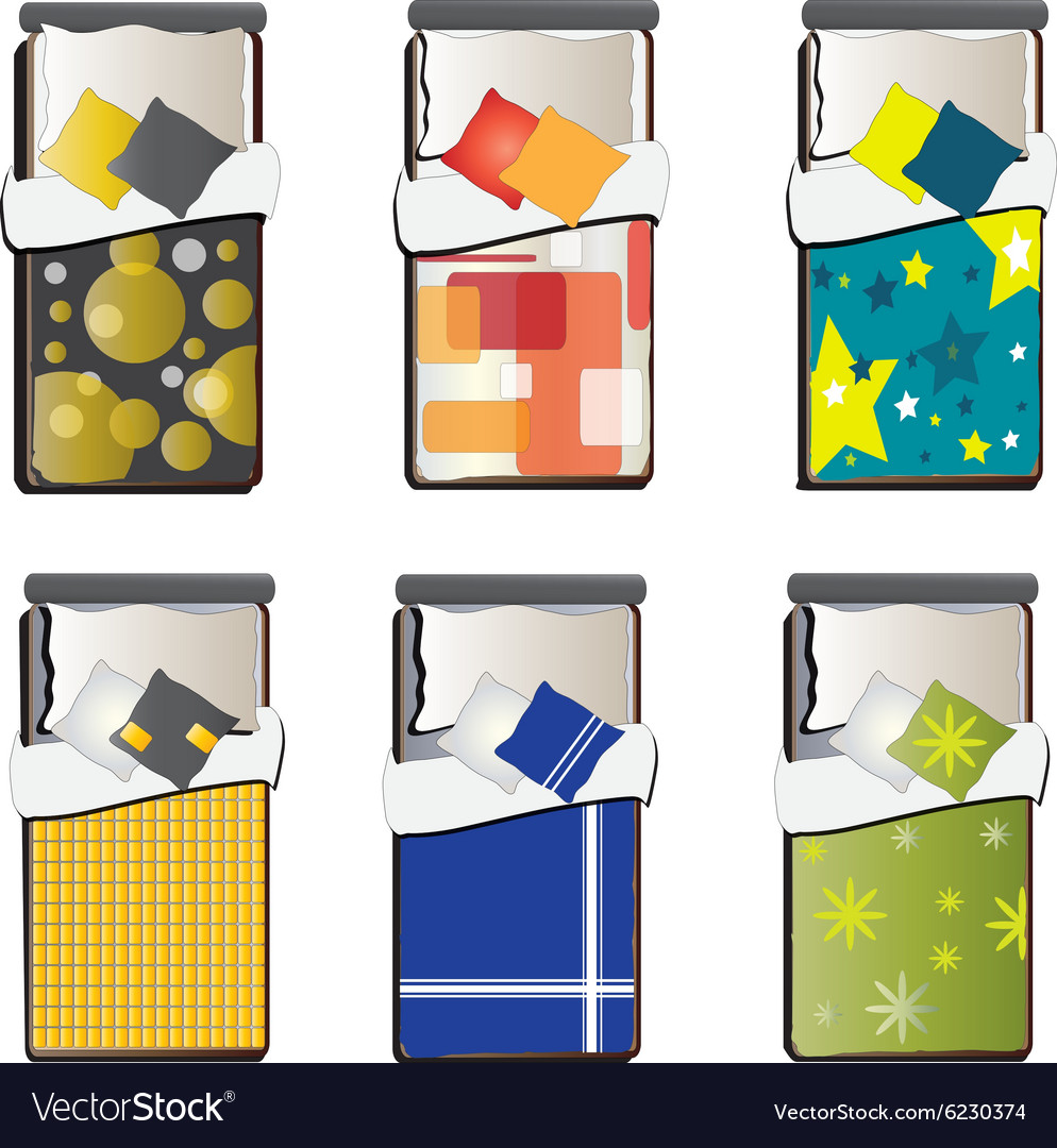 Single bed top view set 5 vector by jenjira image 6230374