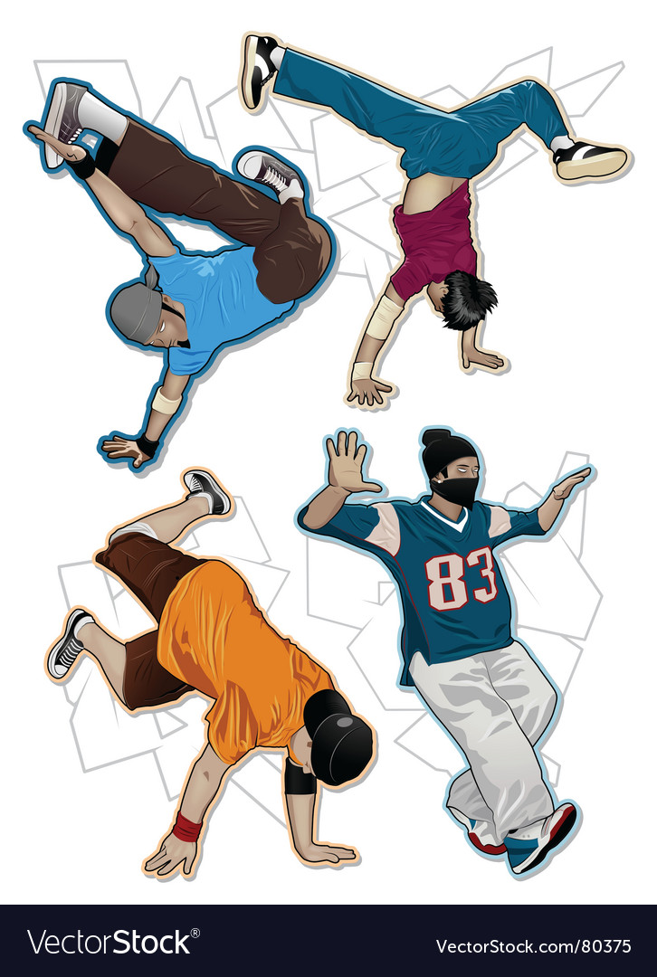 Breakdancers set vector