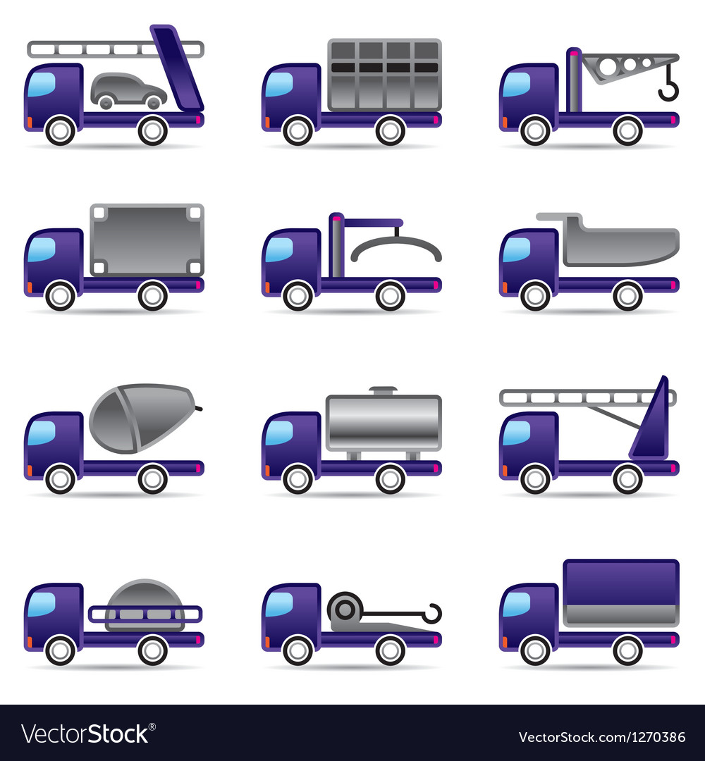 Different types of trucks vector