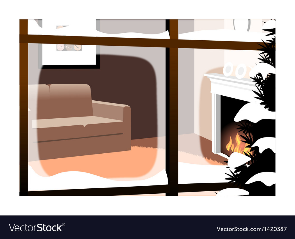 Winter fireplace interior background vector