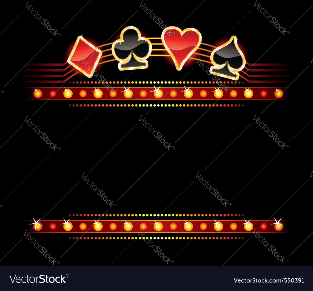 Neon with card symbols vector