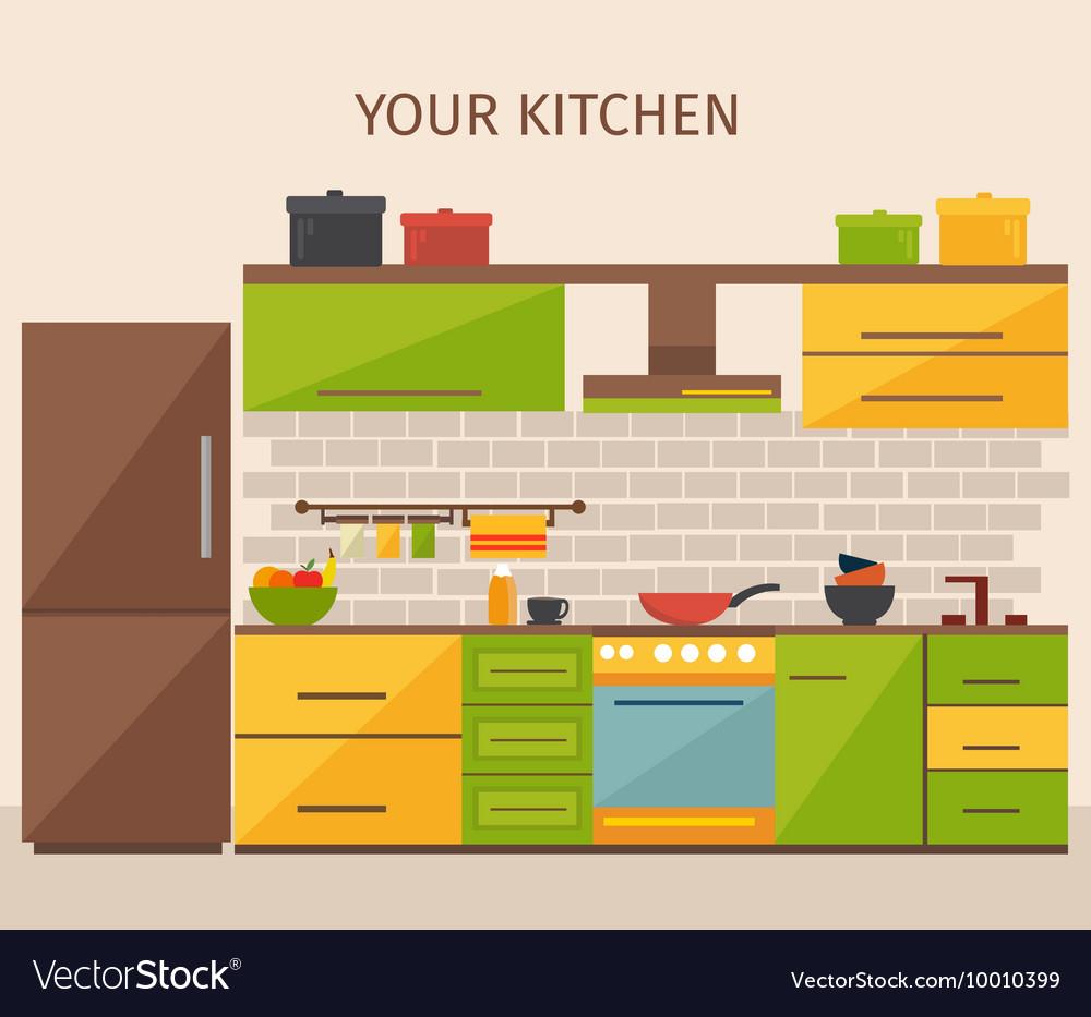 Kitchen interior design vector by vectorpot image for Kitchen design vector