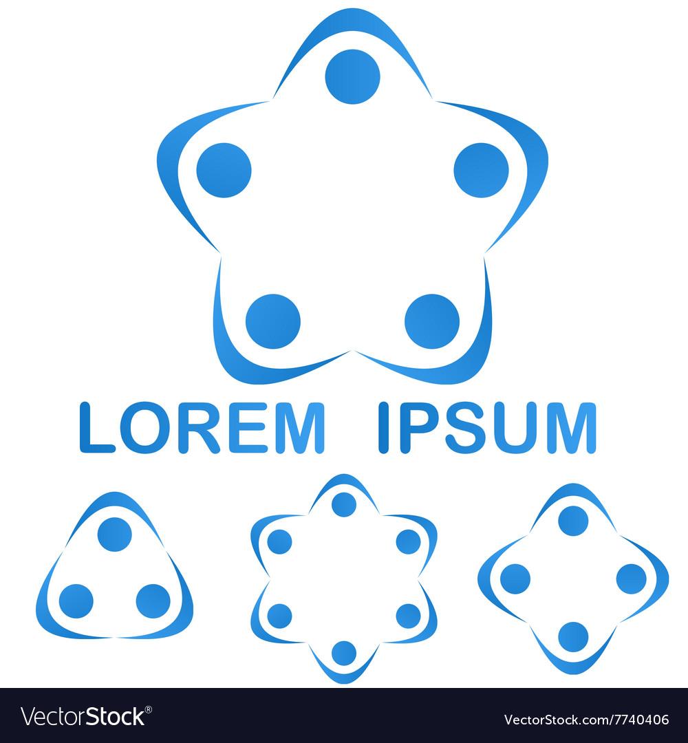 Blue teamwork group logo symbol design set