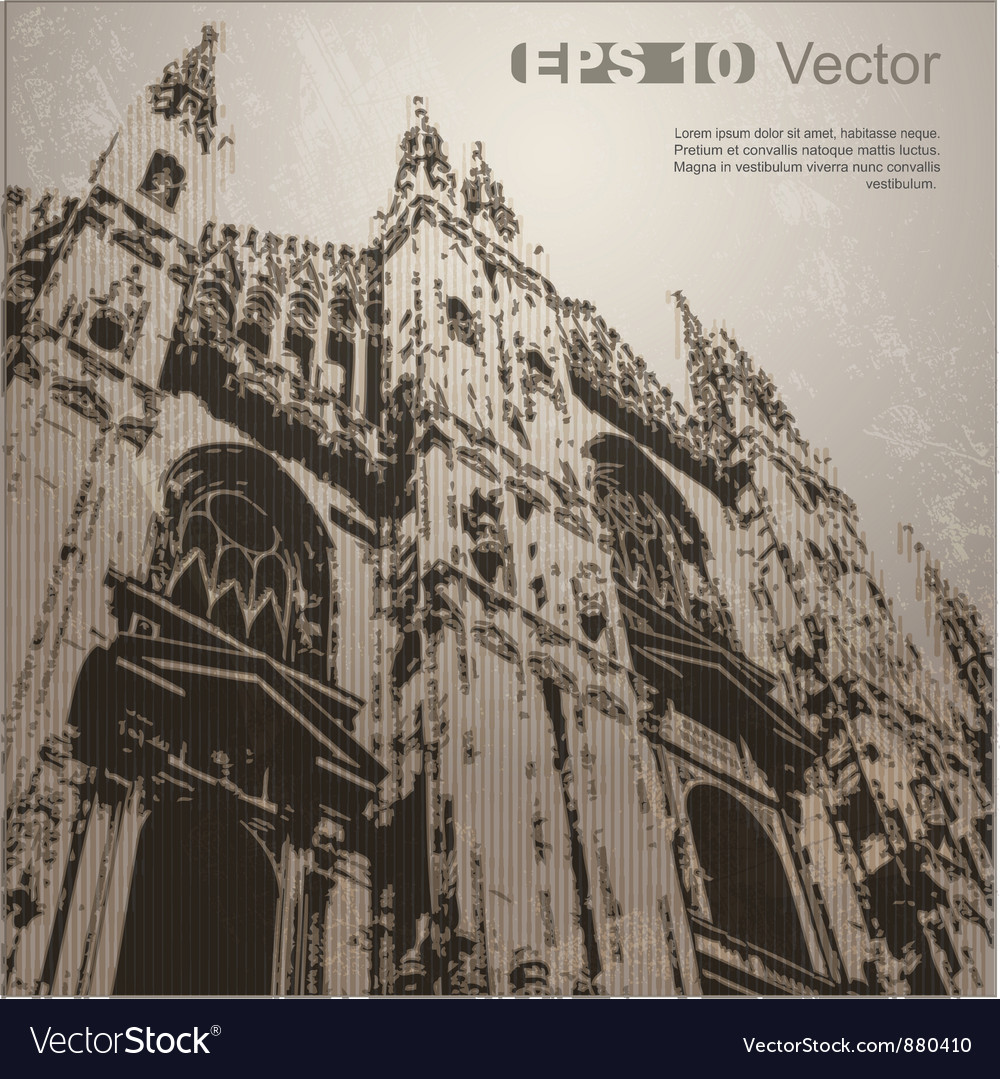 Facade of milan cathedral vector