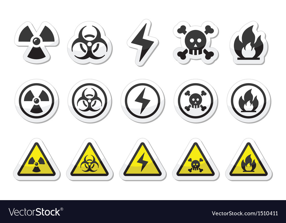 Danger risk warning icons set vector
