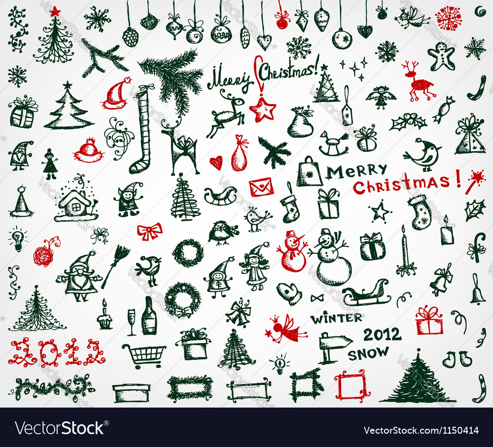 Christmas icons sketch drawing for your design vector
