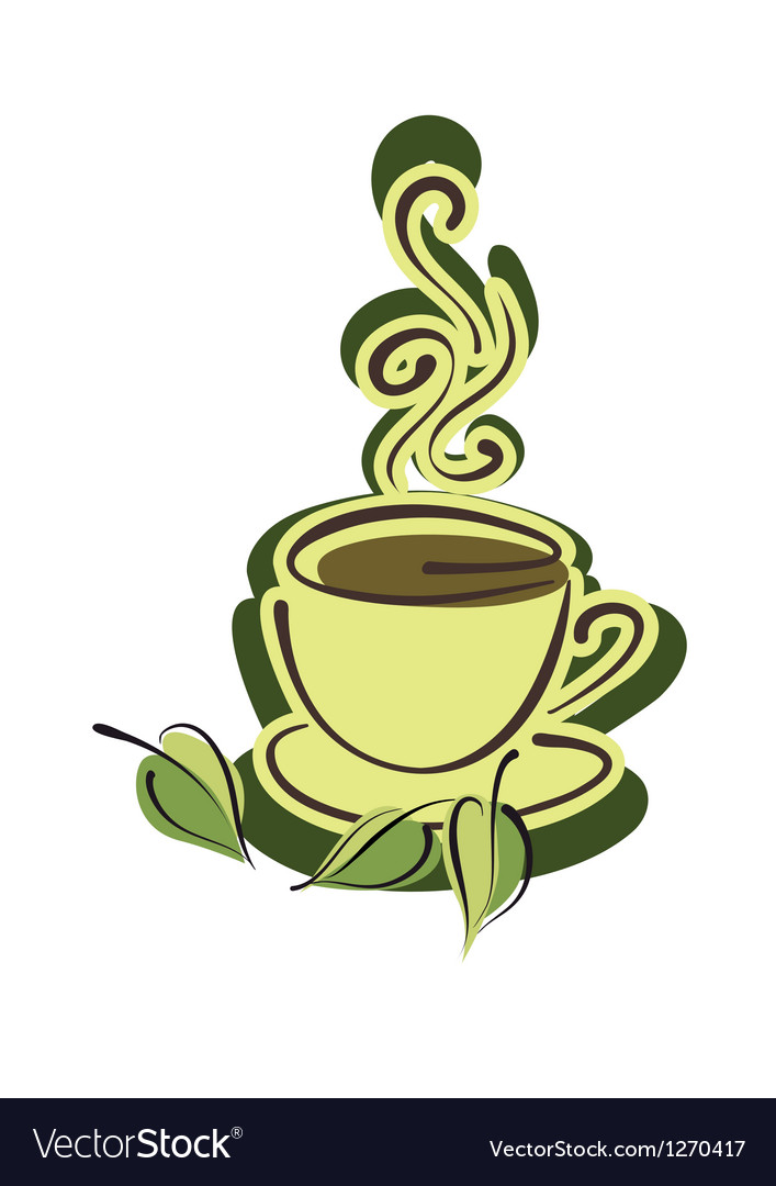Cup of hot herbal tea and leaves vector