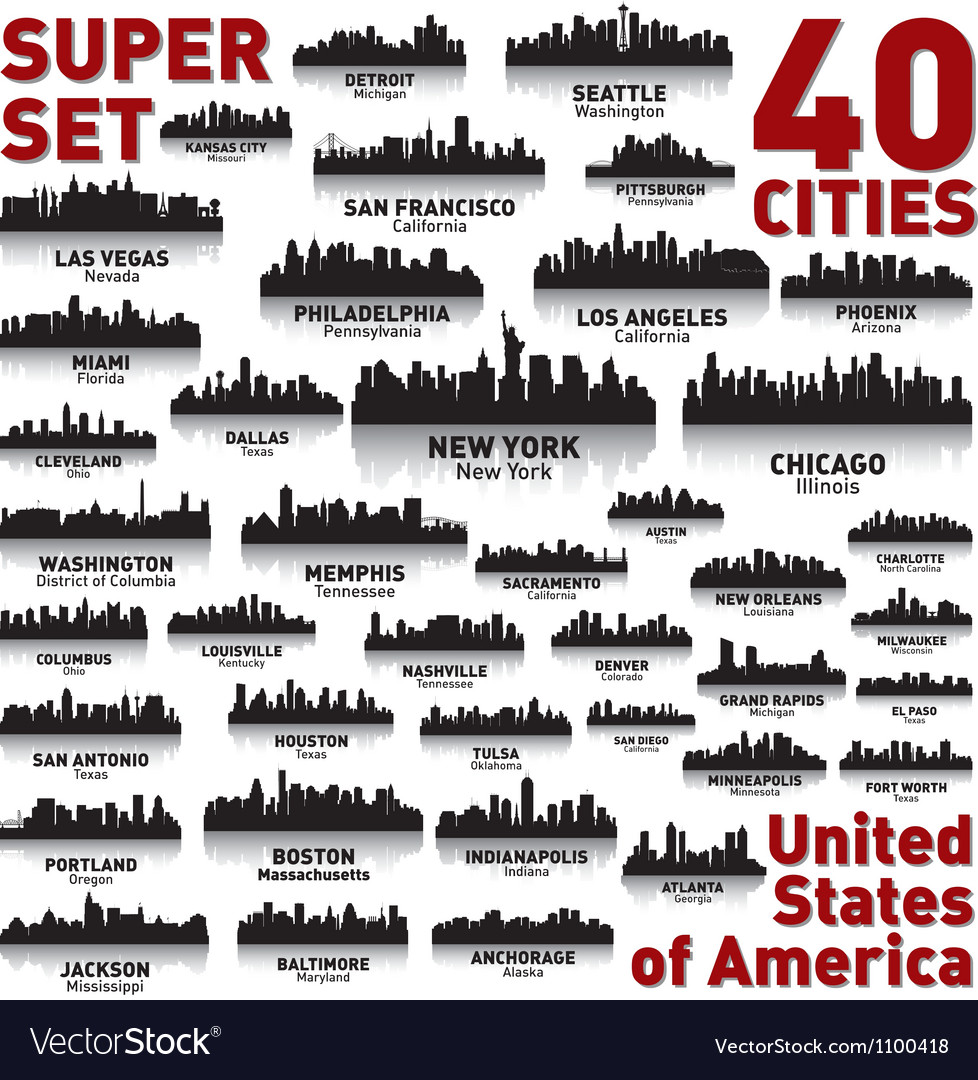 Super city skyline set united states of america vector