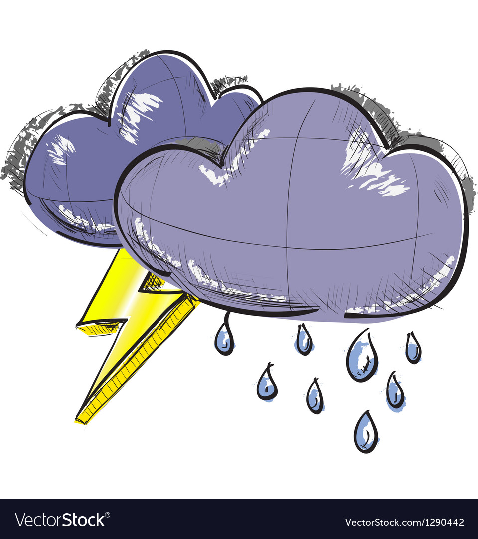Two clouds with lightnings and rain drops vector