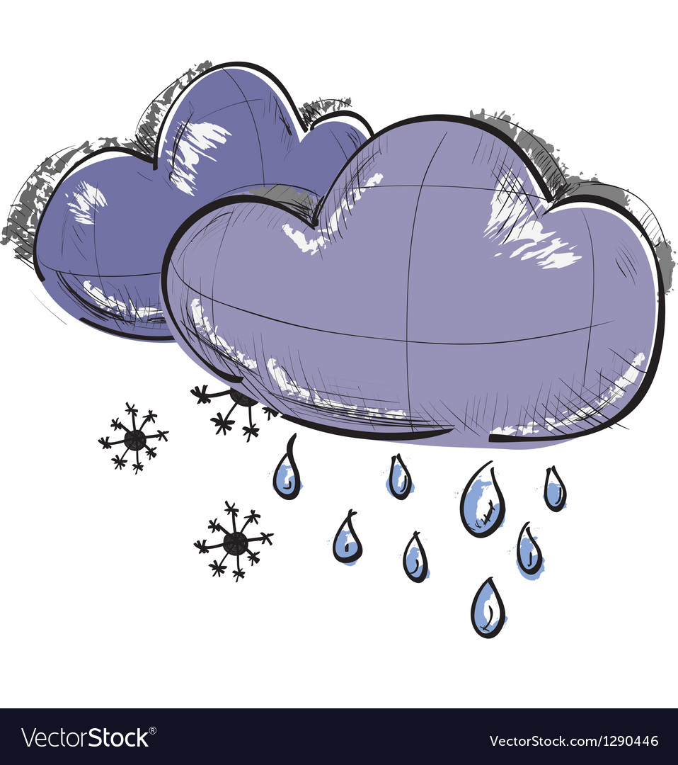 Two clouds with snowflakes and rain drops vector
