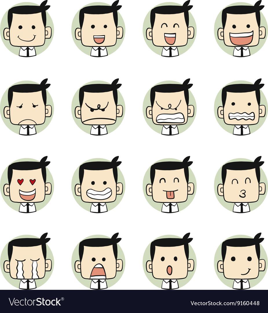 Men faces emotions