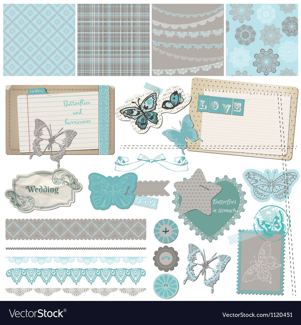 Design elements  vintage lace butterflies vector