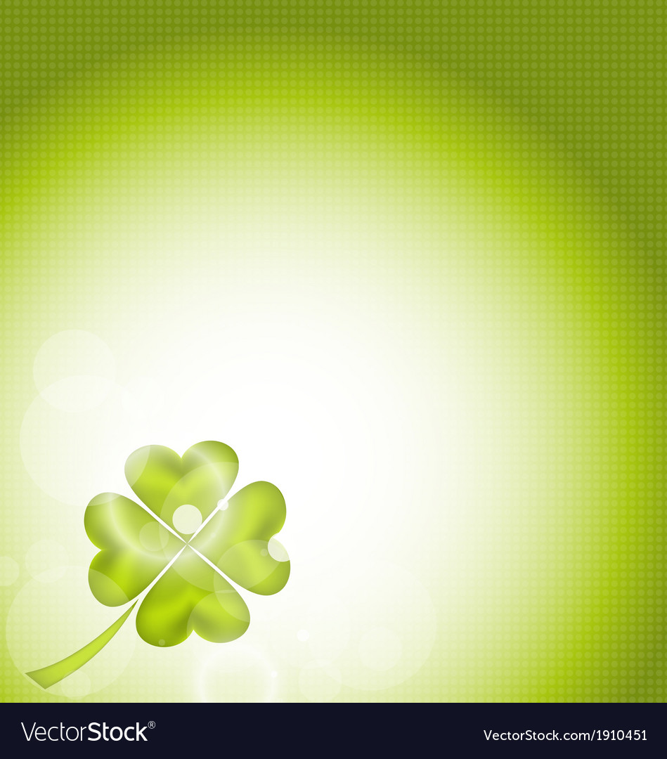 Nature background with fourleaf clover for st