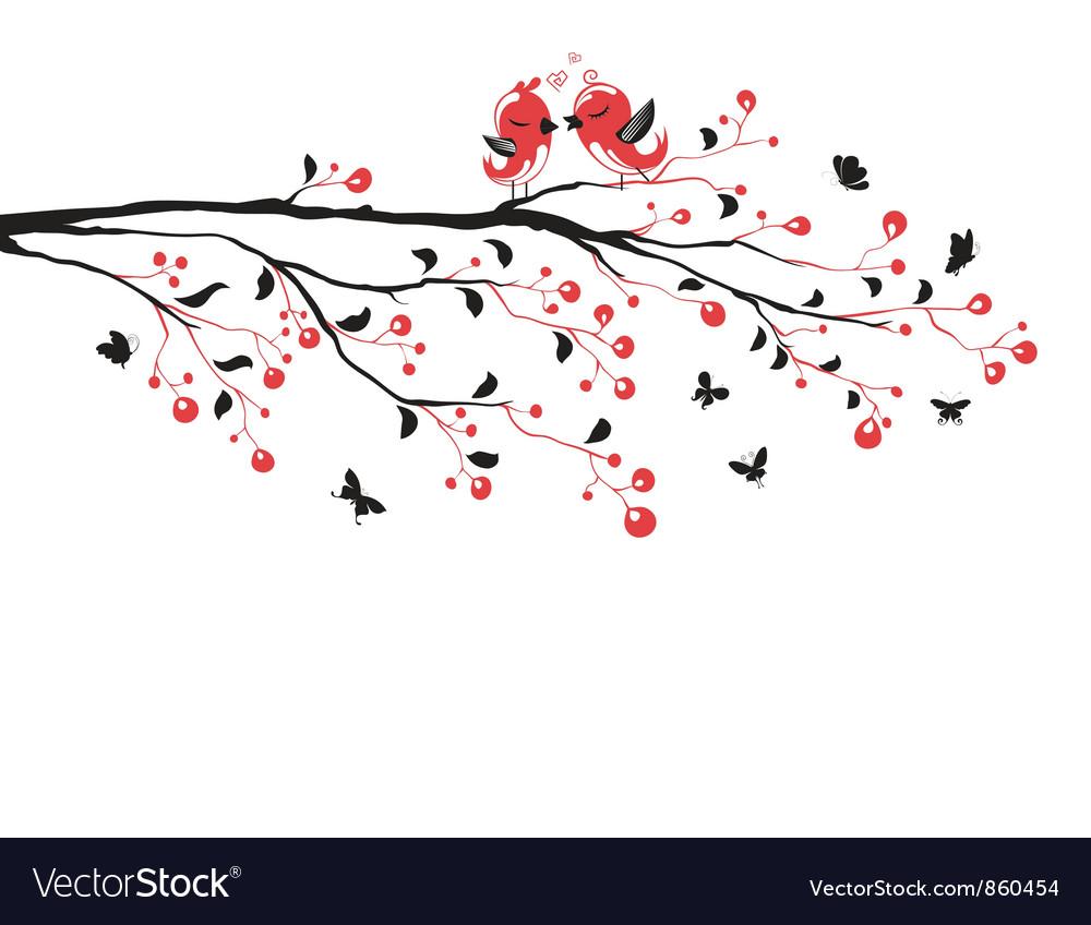 Love birds on branch