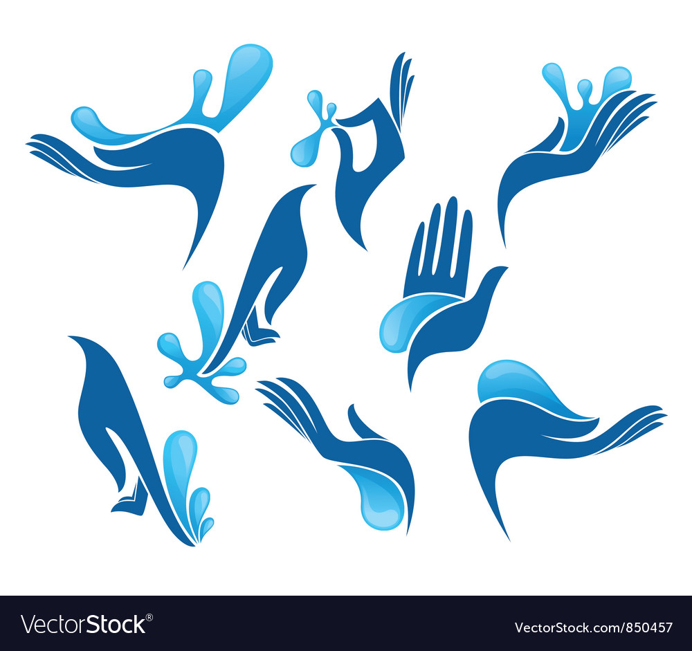 Clean hand collection of symbols vector
