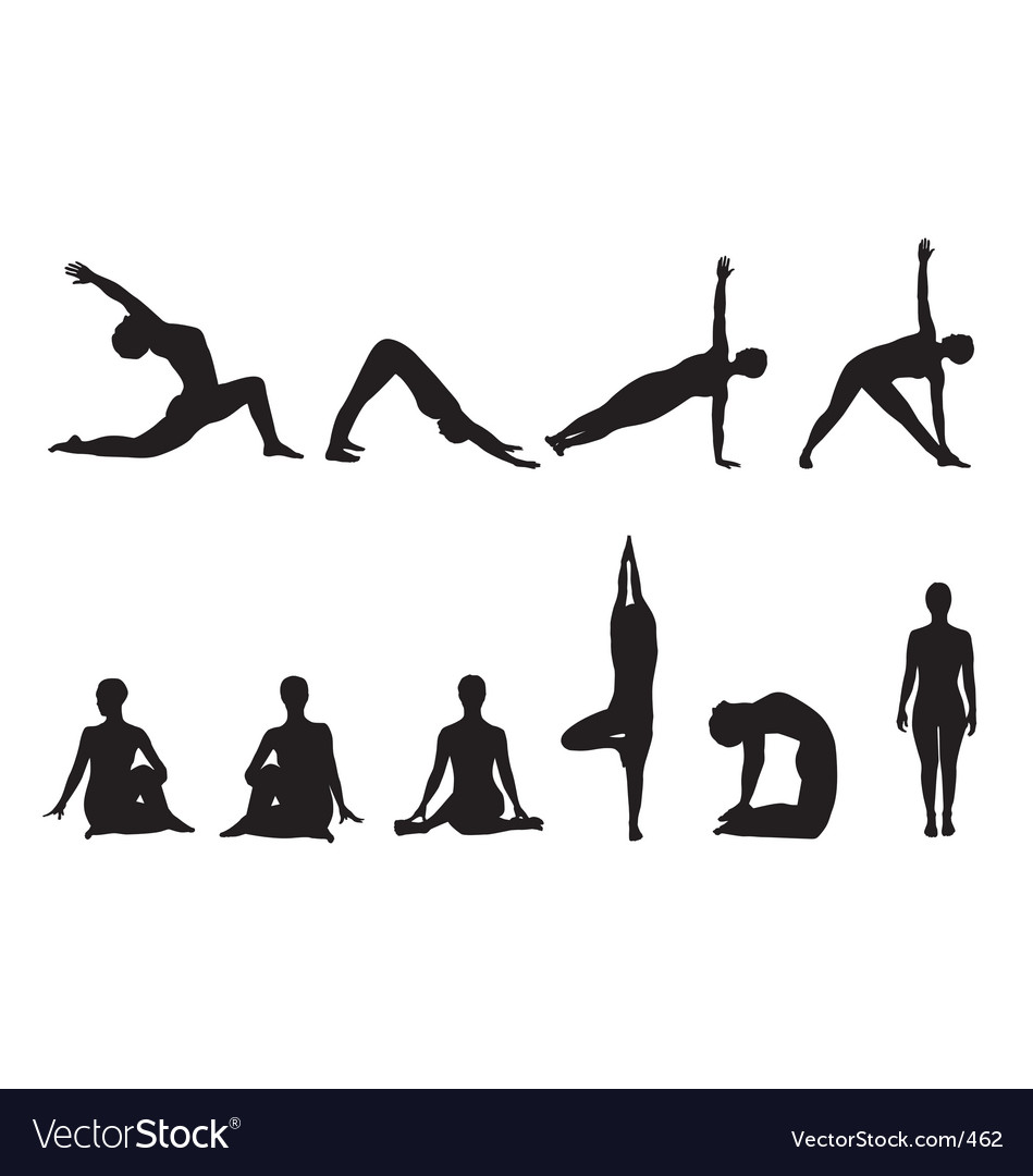 Free yoga silhouettes vector