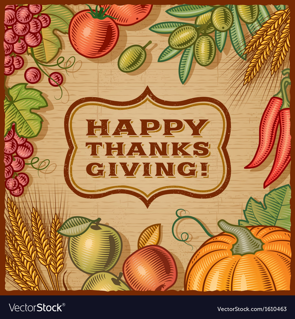 Thanksgiving retro card vector