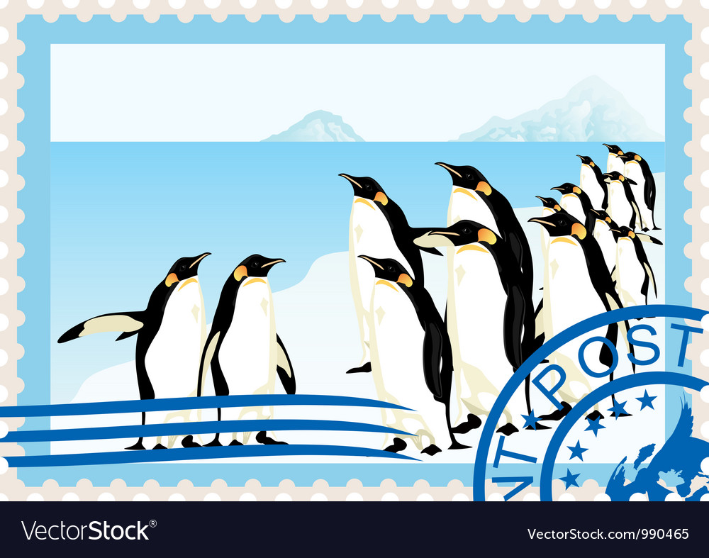 Postage stamp with penguins vector
