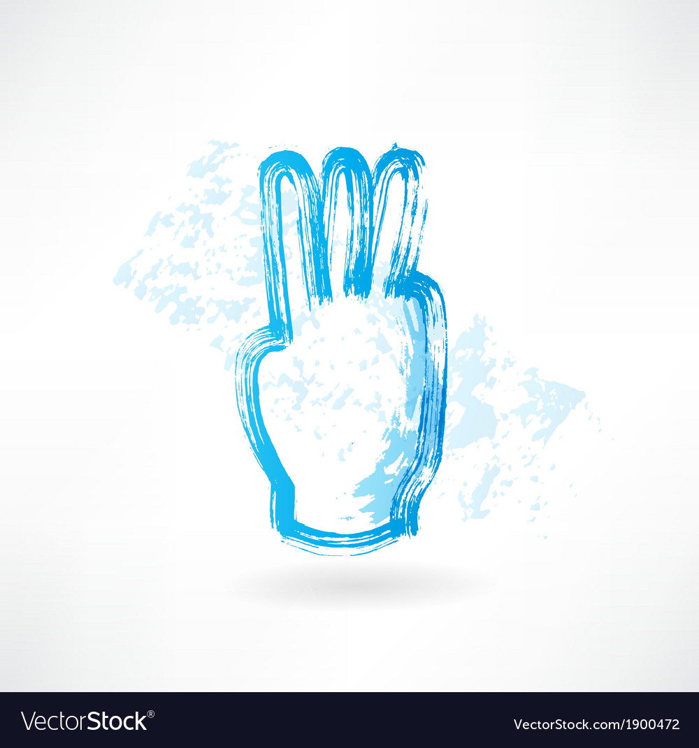 Three fingers grunge icon vector