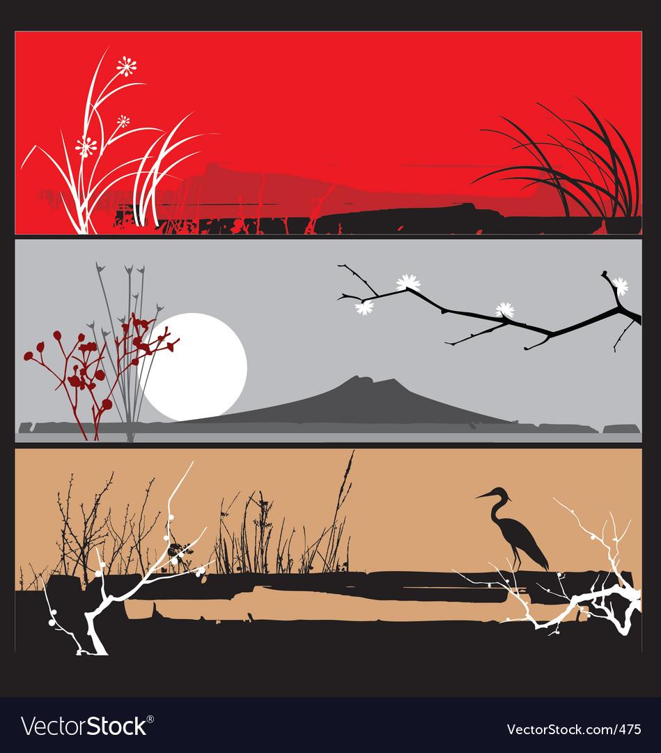 Oriental landscape panels