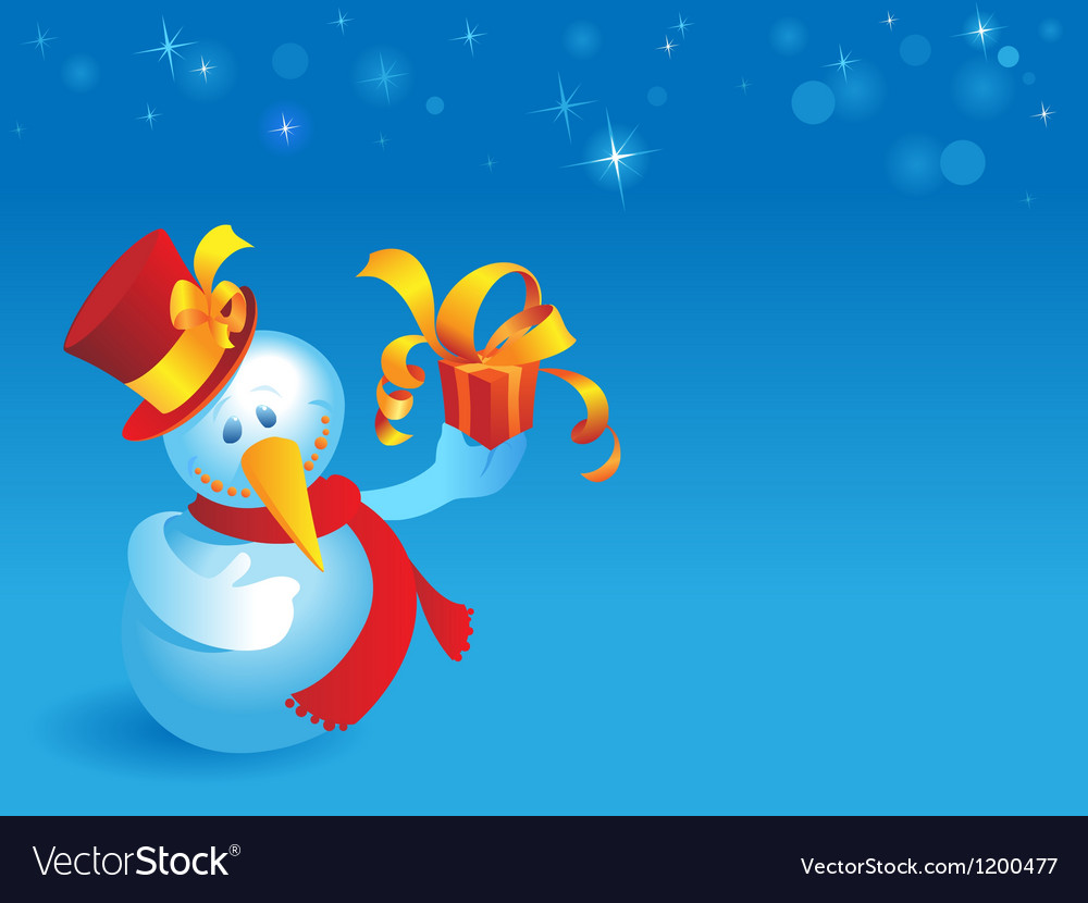 Snowman with gift on blue vector