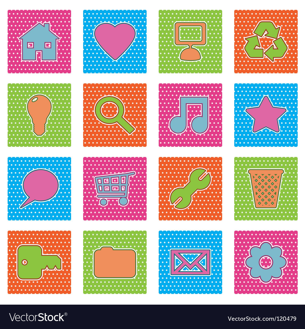 Polka dot icons vector