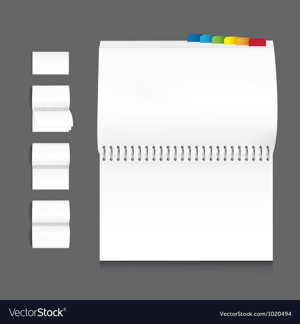 Collection of book blank white paper on white back vector