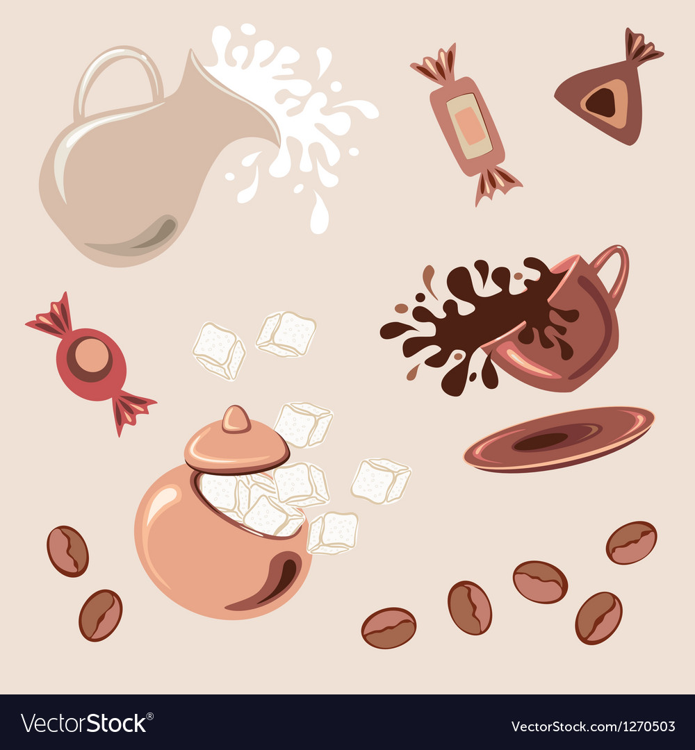Breakfast with coffee vector
