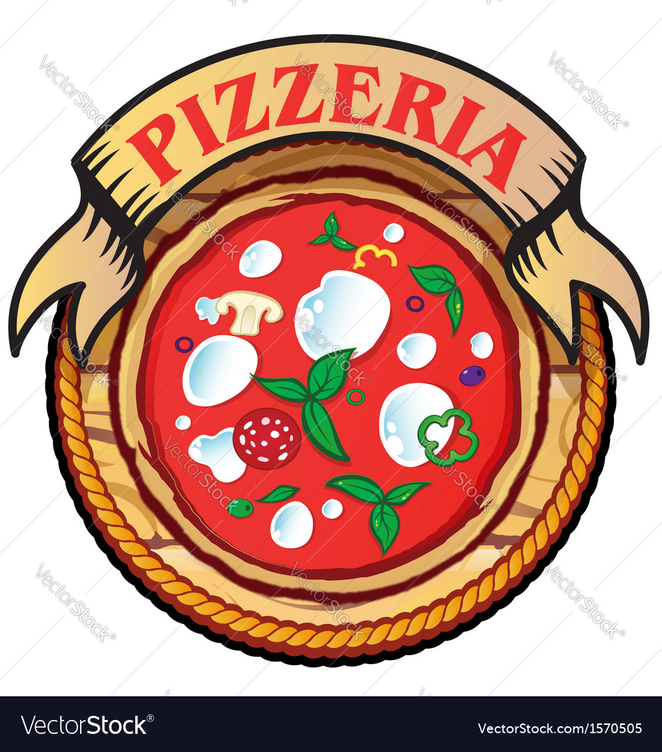 Pizza with wood vector