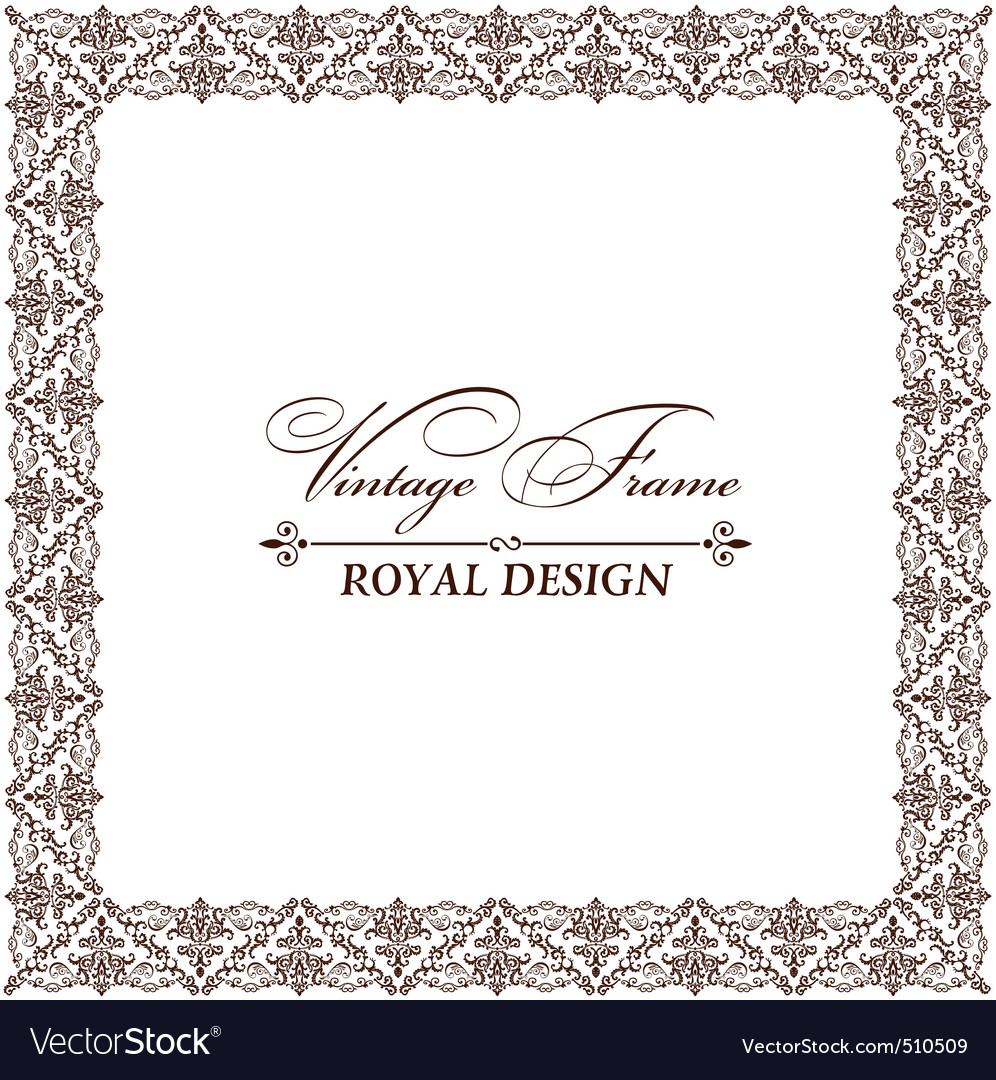 Vintage retro frame ornament vector