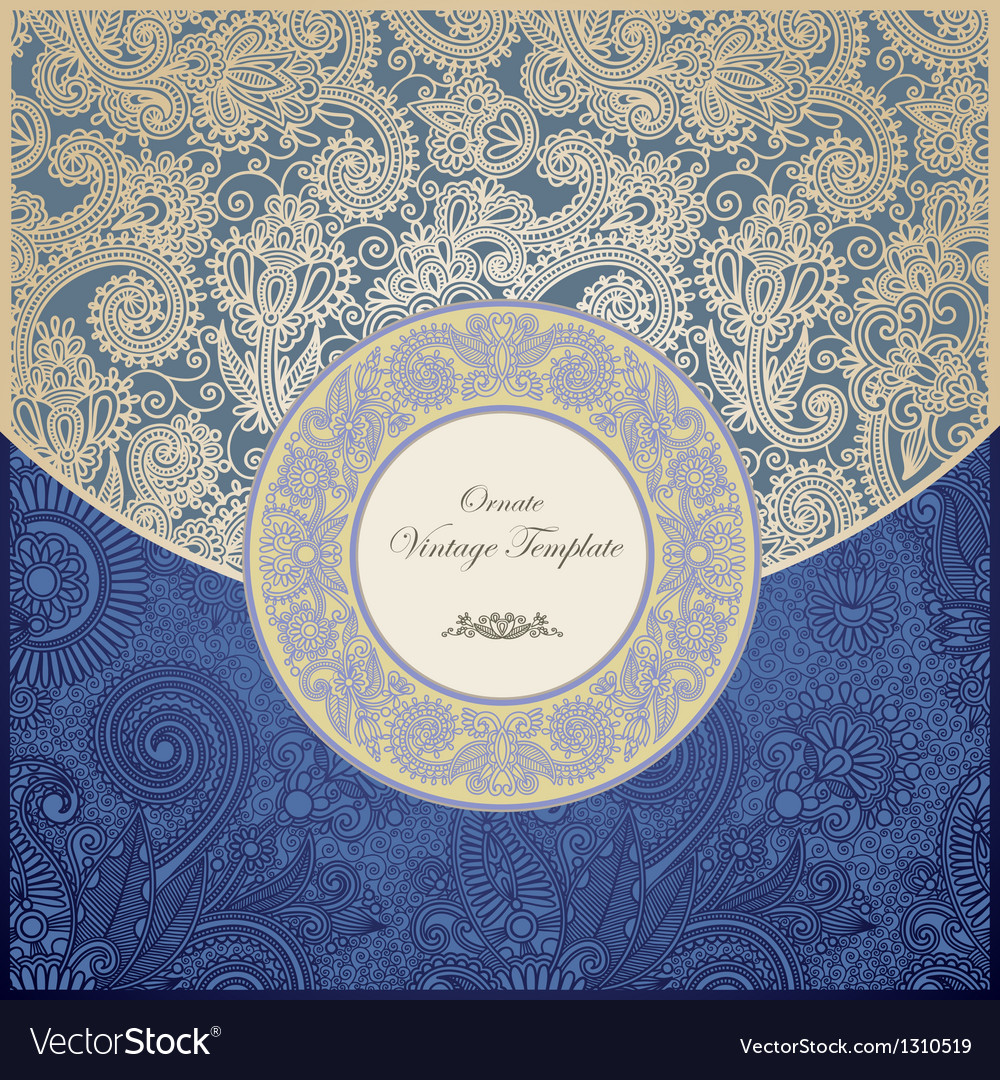 Ornate floral vintage template vector