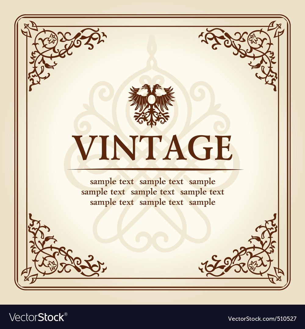 Vintage curves floral frame ornament vector