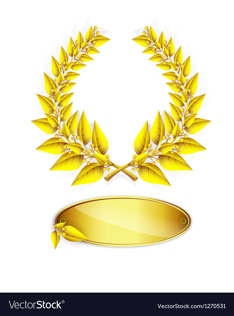Gold laurel wreath and label vector