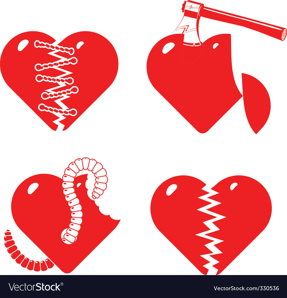 Set of the stylised broken hearts vector