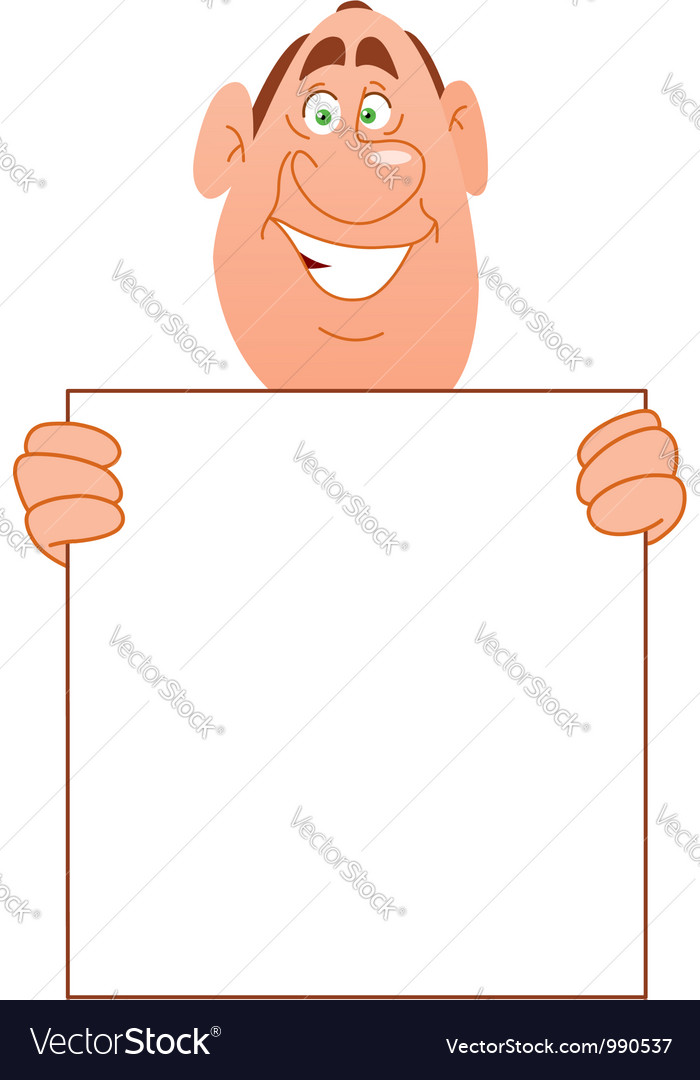 Smiling man with sign vector