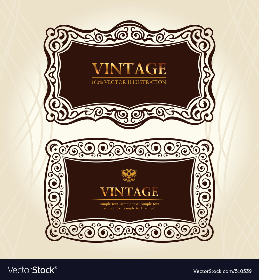 Vintage frames labels decor vector