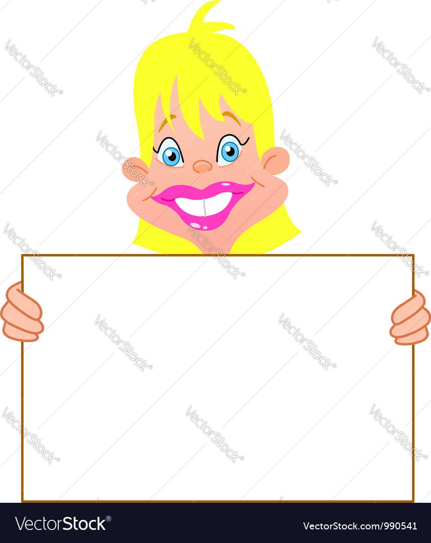 Blond girl with sign vector