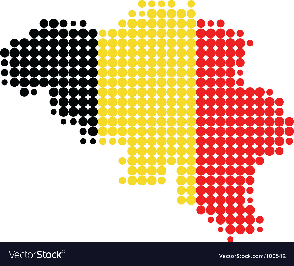 Map and flag of belgium vector