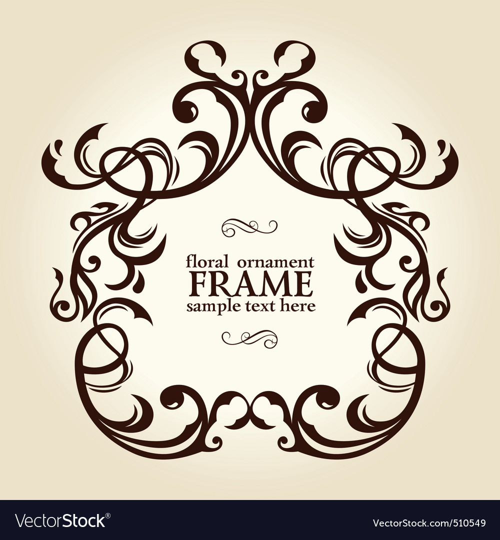 Vintage retro floral frame ornament vector