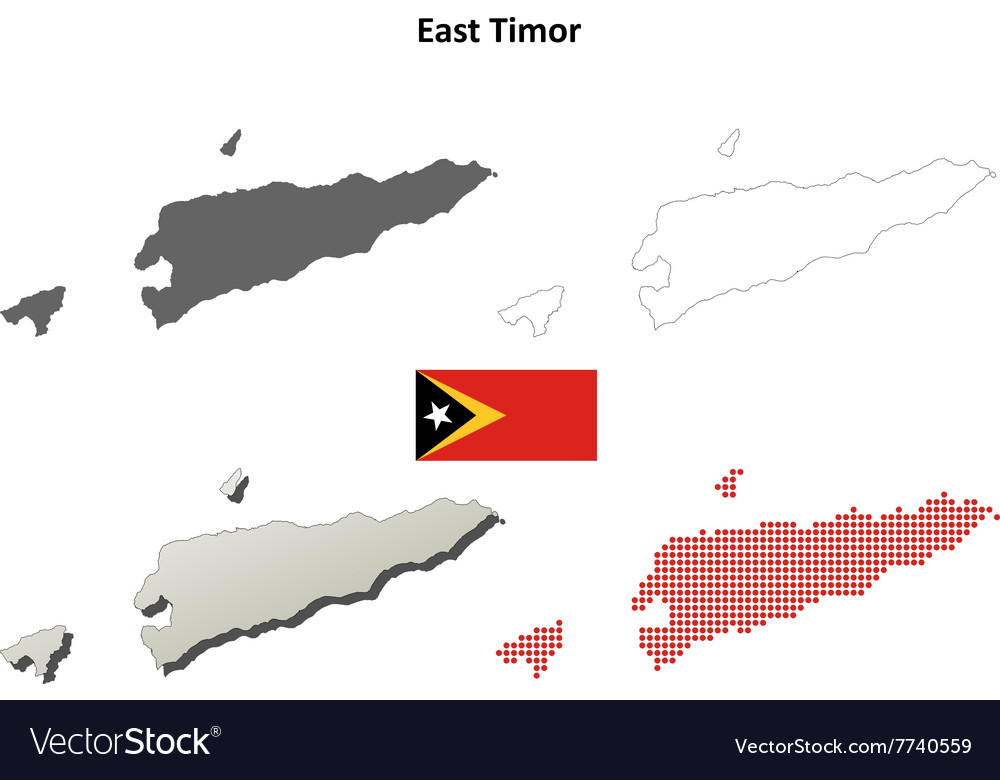 East timor outline map set