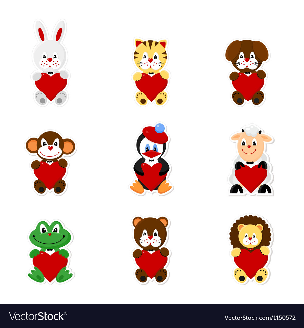 Cute animal valentines1 vector