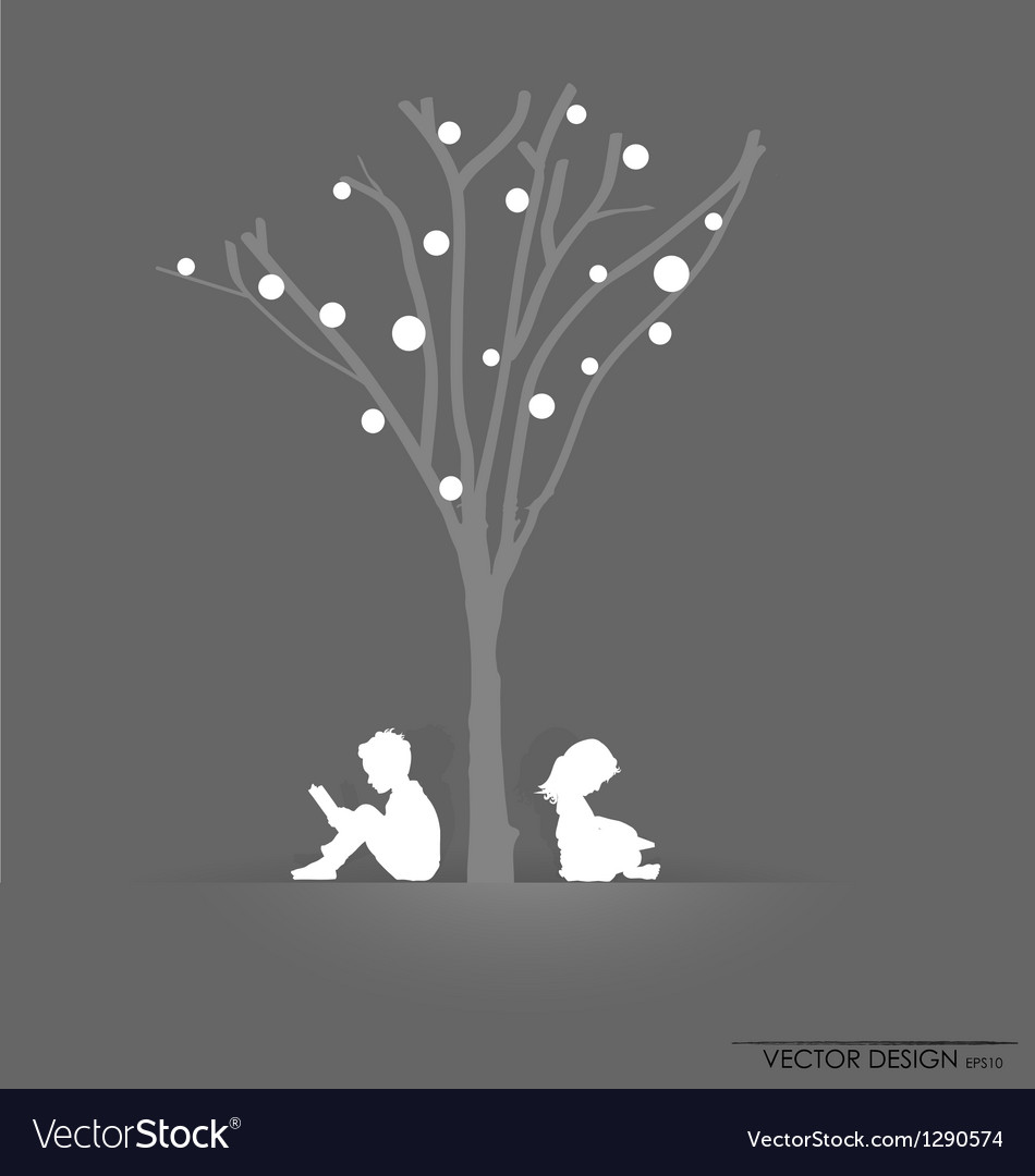Tree background with children reading vector