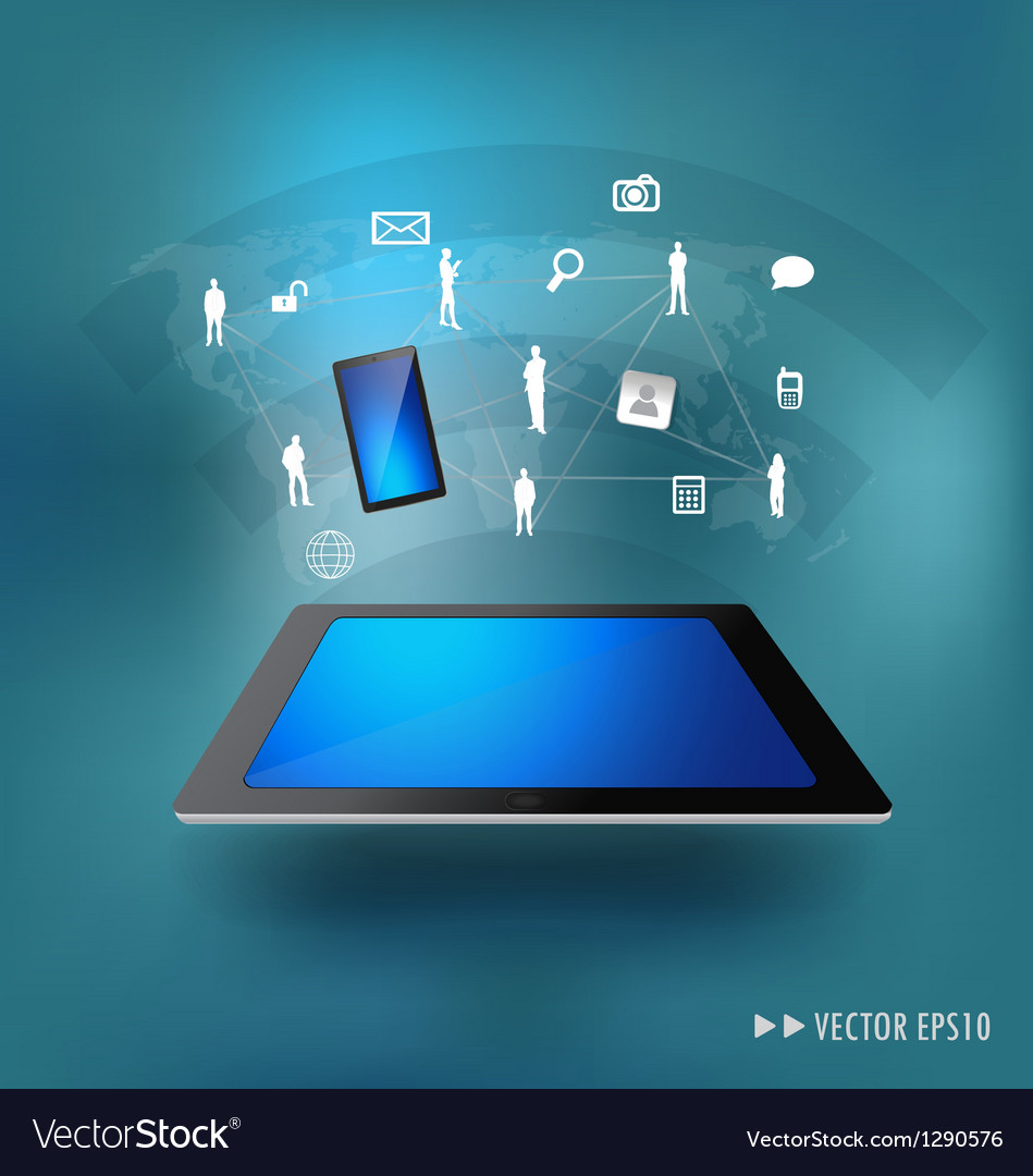 Modern technology thin tablet with social network vector