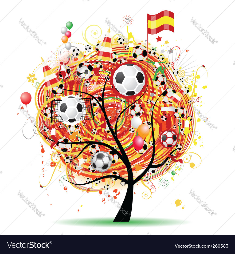 Football tree design spanish flag vector