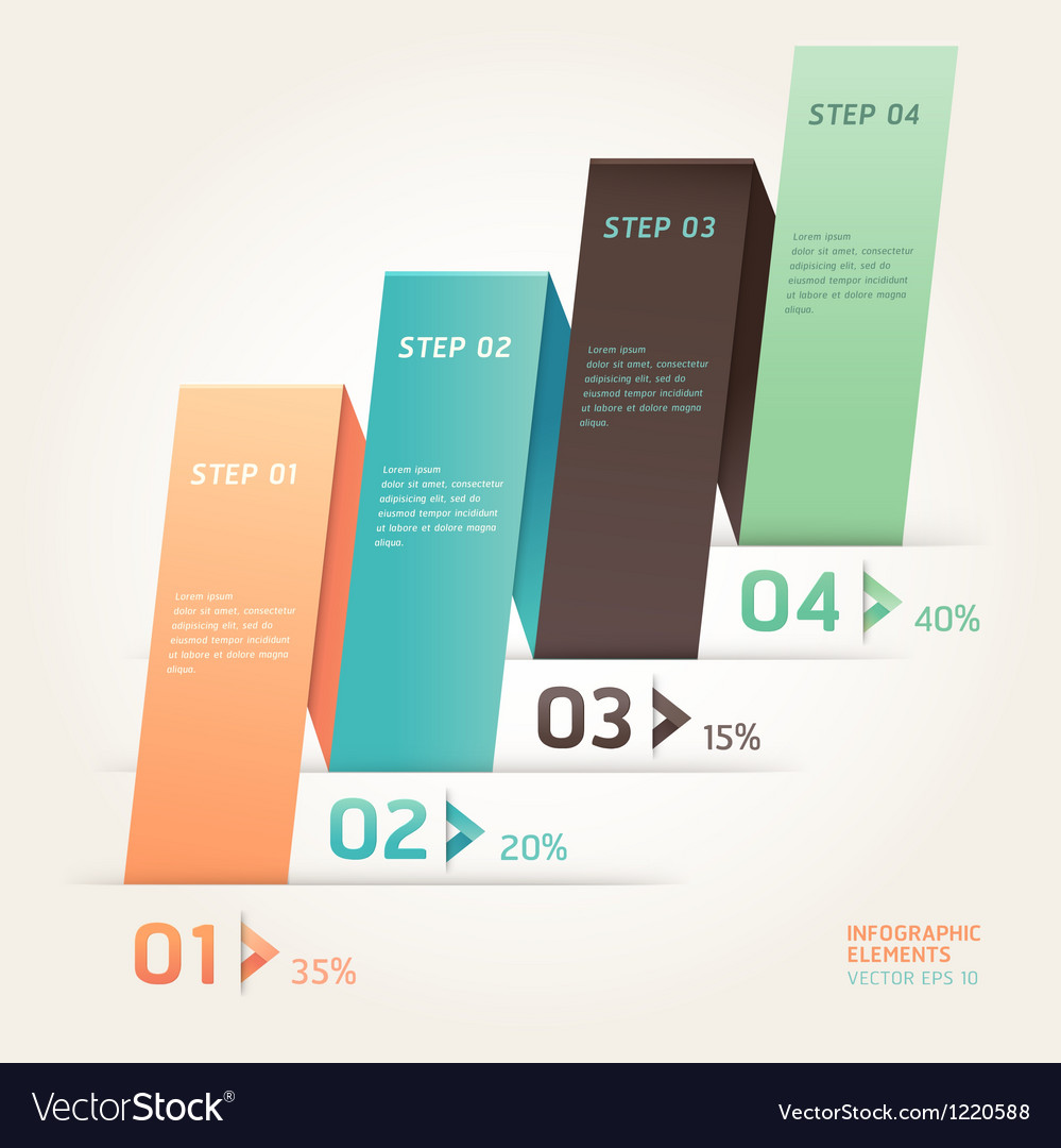 Modern origami style step up options banner vector